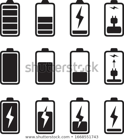 Half charge battery simple icon on white background. Stock photo © tkacchuk