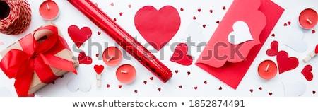 Felice san valentino biglietto d'auguri rosso rosa fiore Foto d'archivio © grechka333