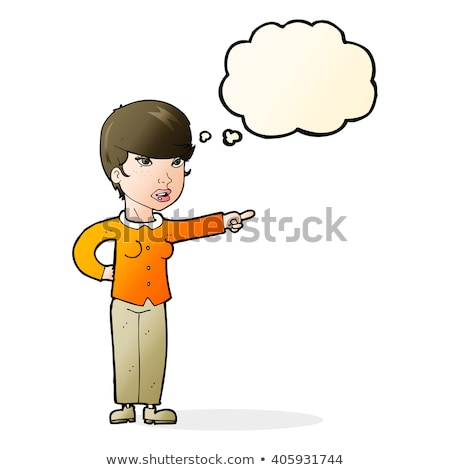 cartoon woman pointing finger of blame with thought bubble Stock photo © lineartestpilot
