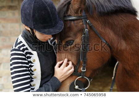 teenage girl with her beautiful horse friend stock photo © simply