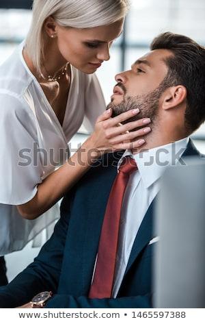 üzletasszony · flörtöl · kolléga · üzlet · nő · iroda - stock fotó © andreypopov