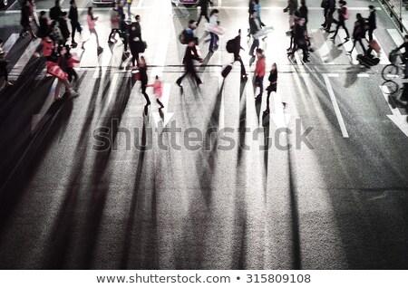 Nők kereszt utca éjszaka bemozdult tükröződés Stock fotó © meinzahn