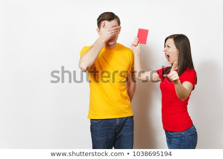 Female Referee With Red Card And Whistle Stock photo © AndreyPopov