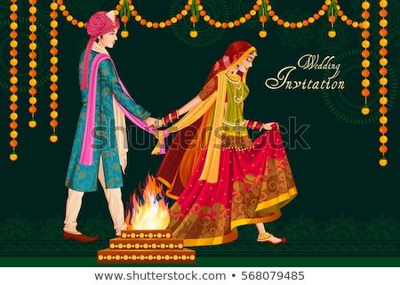 Indiai hagyományos esküvő szertartás házasság India Stock fotó © ziprashantzi