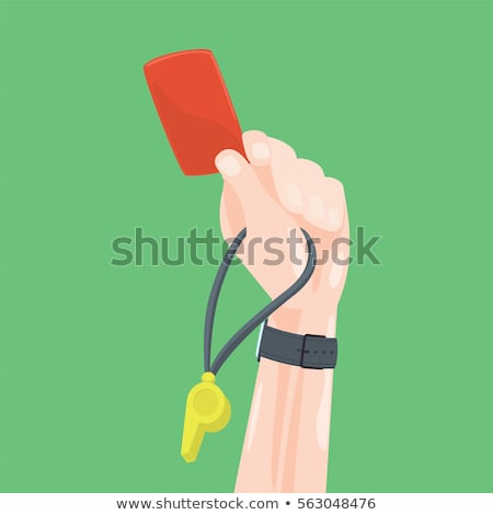 Soccer referee whistles and shows yellow card. Stock photo © orensila