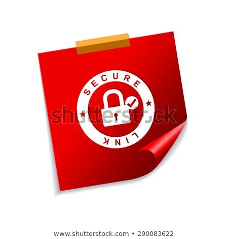 Beveiligde link Rood sticky notes vector icon Stockfoto © rizwanali3d