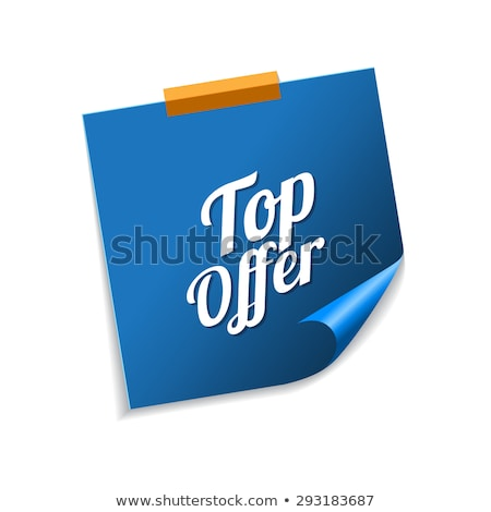 top offer blue sticky notes vector icon design stock photo © rizwanali3d