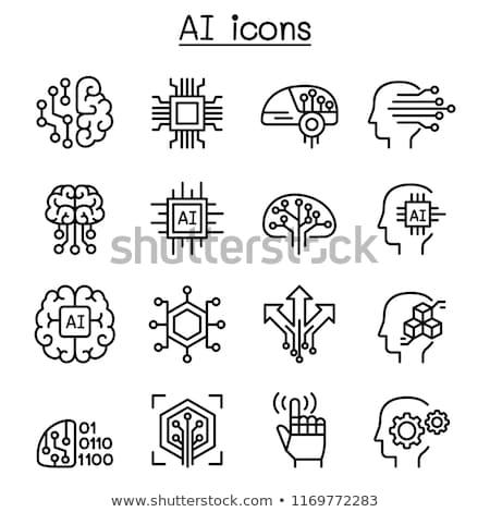 human head with idea thin line icon stock photo © rastudio