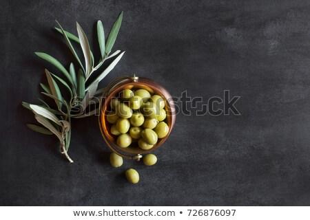 olijfolie · olie · olijven · bladeren · geïsoleerd · witte - stockfoto © marimorena