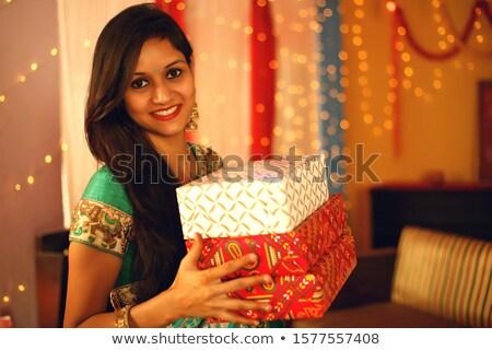 Kadın hediyeler diwali portre gülen Stok fotoğraf © imagedb