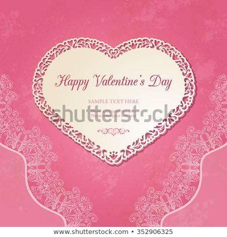 Valentines Day lacy frame. EPS 10 Stock photo © beholdereye