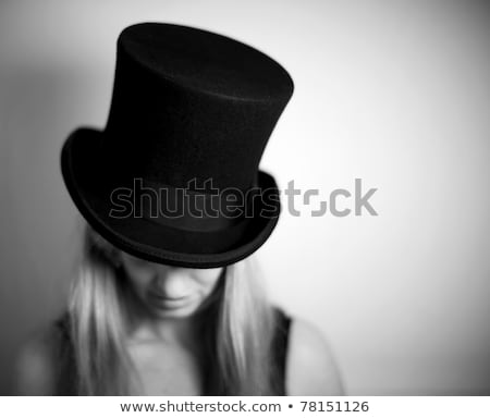 романтические · девушки · белая · блузка · изолированный · черный - Сток-фото © elisanth