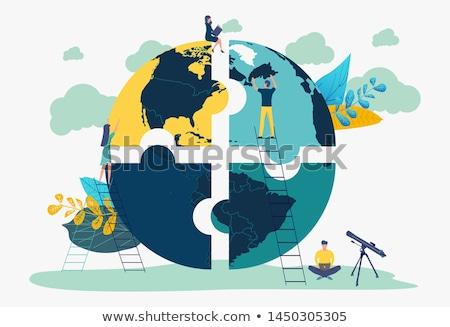világ · térkép · puzzle · három · textúra · kék - stock fotó © marinini