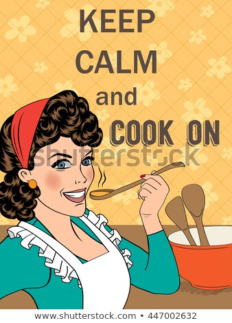 Illustration with massage'Keep calm and cook on' Stock photo © balasoiu