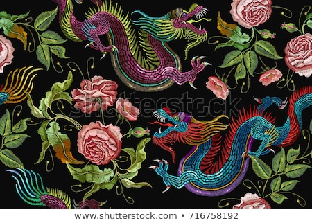 Seamless pattern with dragons Stock photo © Zhukow