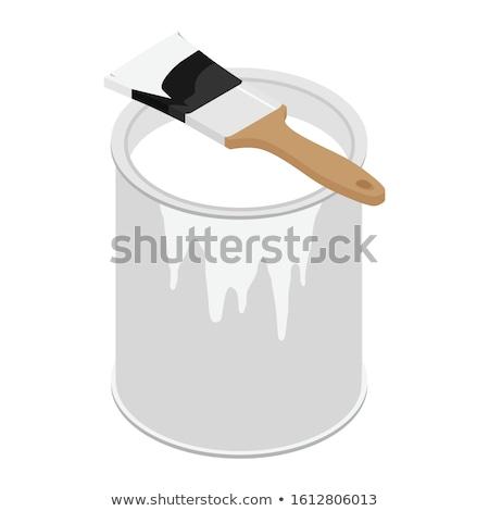 Biały wiadro 3D odizolowany domu Zdjęcia stock © magann