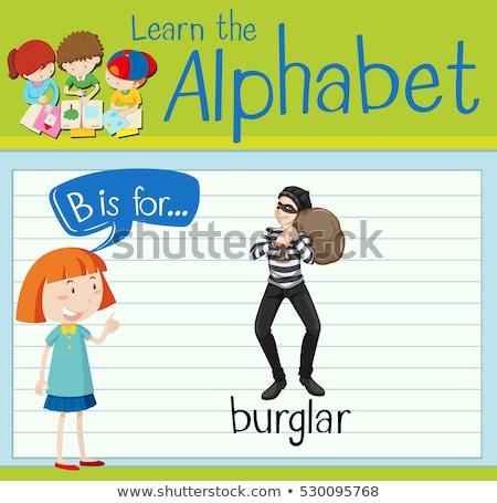 Brief inbreker illustratie man kinderen kind Stockfoto © bluering