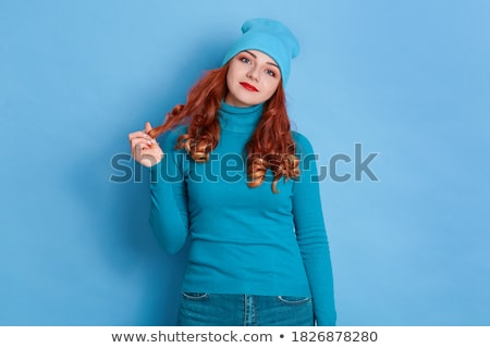 Beautiful charming woman wearing sweater and red lipstick Stock photo © deandrobot
