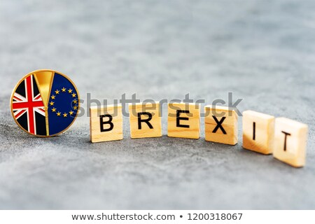 brexit text with united kingdom and eu flag Stock photo © SArts