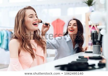 sarışın · kadın · makyaj · banyo · renk · ayna - stok fotoğraf © neonshot