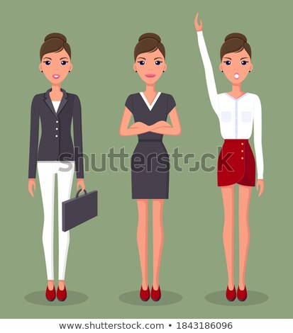 vector set of cartoon business formal dressed woman in different poses isolated on white background stock photo © maia3000