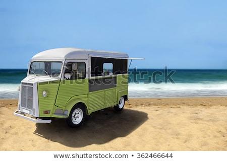 comida · caminhão · praia · verde · retro · fast-food - foto stock © dawesign