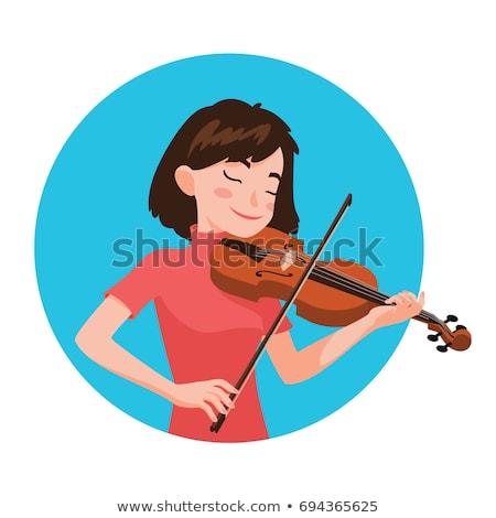 Nő játszik hegedű zenész áll derűs Stock fotó © RAStudio