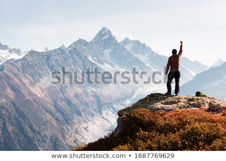 Siluet turist dağ siyah gökyüzü Stok fotoğraf © Yongkiet