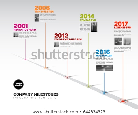 infographic timeline template with pointers and photos stock fotó © orson