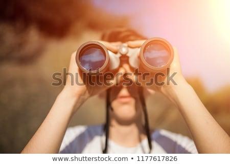 Lány néz látcső erdő áll kő Stock fotó © wavebreak_media