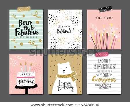 Doğum günü kartpostal eğim bebek çocuklar Stok fotoğraf © barbaliss