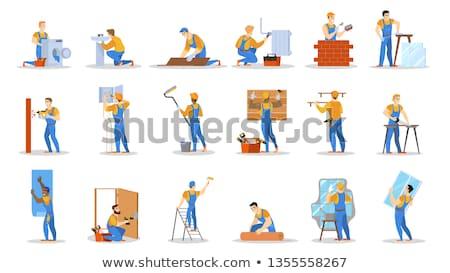 Stockfoto: Ingesteld · elektricien · bouwer · professionals · cartoon