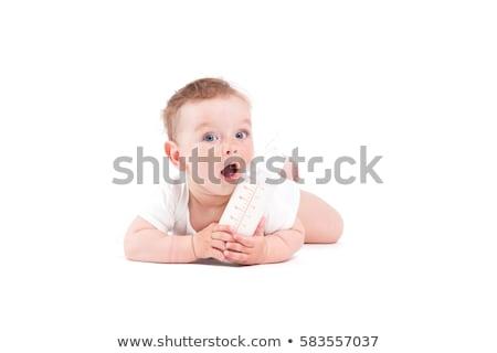 Aranyos csinos baba fiú fehér póló Stock fotó © Traimak