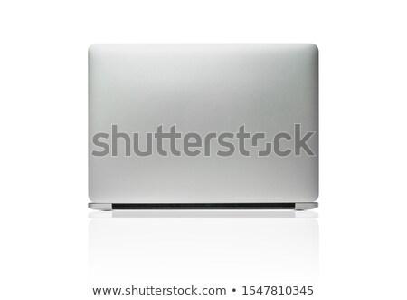Otwarte biały laptop powrót odizolowany notebooka Zdjęcia stock © popaukropa