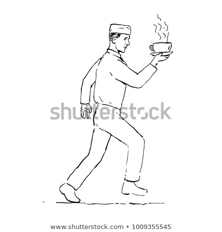 Retro Waiter Running Serving Coffee Drawing Stock photo © patrimonio