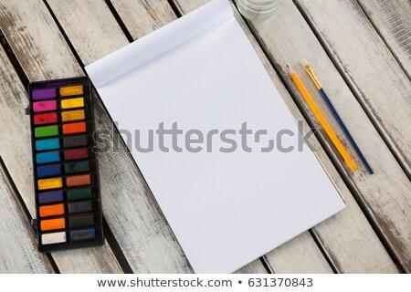Színes paletta ecset ceruza könyv fából készült Stock fotó © wavebreak_media