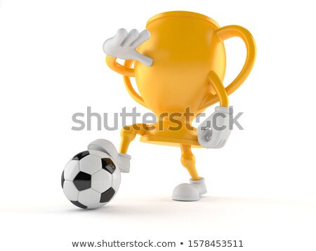 winner first place character soccer ball football isolate on w stock photo © rogistok
