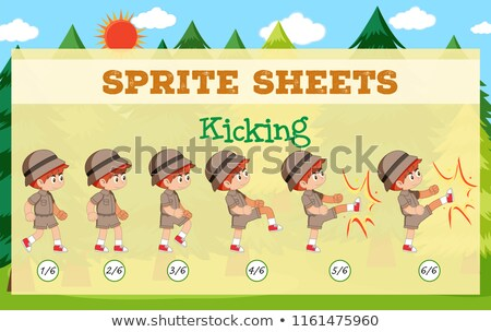 A sprite sheet kicking game template Stock photo © bluering