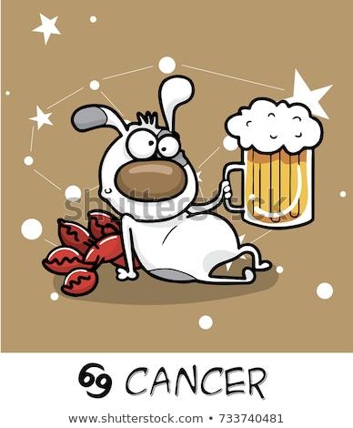 cartoon dog as Cancer Zodiac sign Stock photo © izakowski
