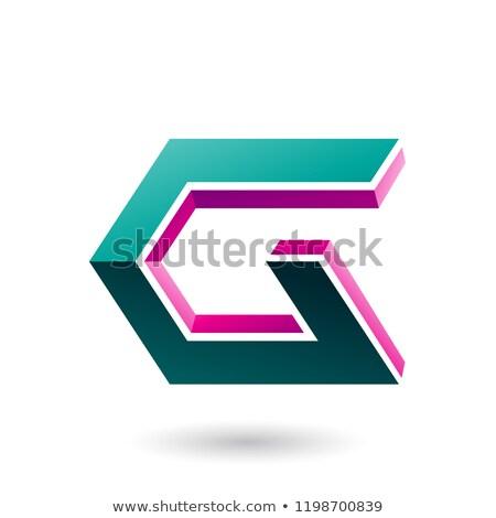 Magenta verde 3D ícone vetor Foto stock © cidepix