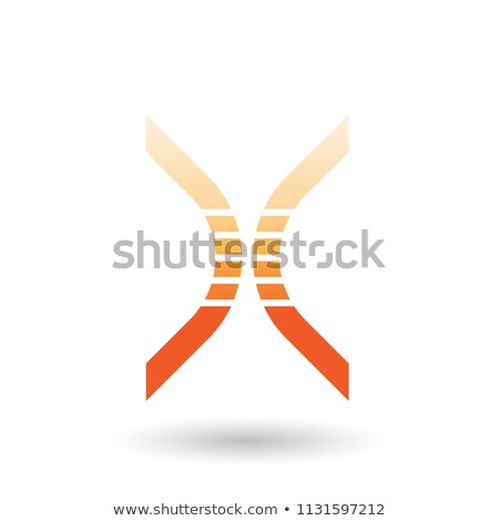 orange bow shaped striped icon for letter x vector illustration stock photo © cidepix