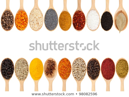 wooden spoons with assortment of spices stock photo © dash