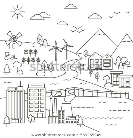 завода · современных · тонкий · линия · дизайна · стиль - Сток-фото © decorwithme