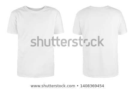 glimlachend · jonge · man · witte · tshirt · ontwerp · gebaar - stockfoto © andreypopov