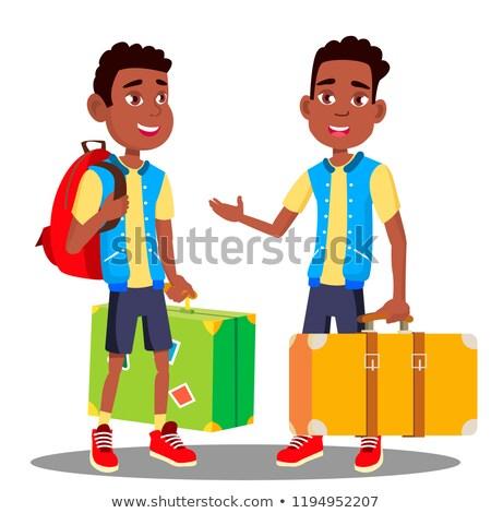 Fiú bőrönd kezek vektor fekete afro Stock fotó © pikepicture