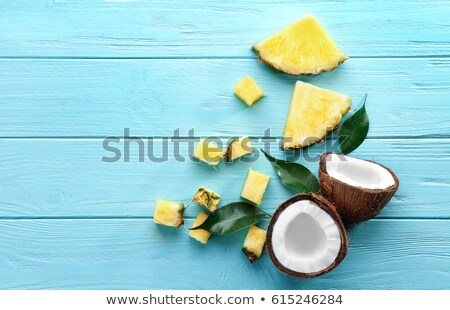 Zöld pálmalevél fél friss ananász kék Stock fotó © artjazz