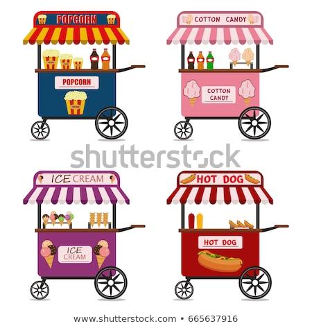popcorn and hot dog street cart with vendors set stock photo © robuart