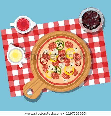 mesa · de · jantar · moderno · mobiliário · isométrica · 3D - foto stock © makyzz