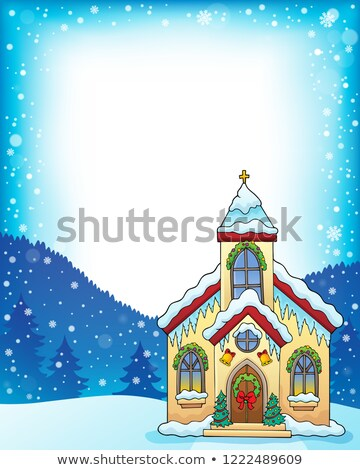 Navidad edificio de la iglesia marco edificio arte invierno Foto stock © clairev