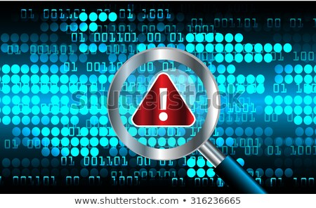 Computer monitor with magnifying glass and bugs. Virus concept. vector illustration isolated on mode Stock photo © kyryloff